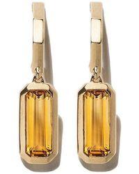 David Yurman - 18kt Yellow Gold Novella Hoop Drop Citrine Earrings - Lyst