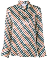 Asceno - Diagonal Stripes Silk Pajama Top - Lyst