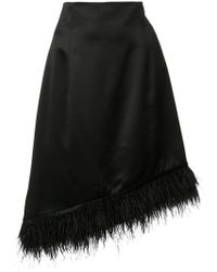 6752ed9c7 Josie Natori - Feather-trimmed Asymmetric Satin Skirt - Lyst