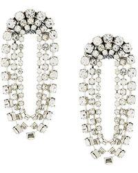 Rada' - Crystal Dropped Chain Hoop Earrings - Lyst