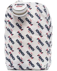 Fendi - White, Blue And Red Mania Fila Logo Charm Backpack - Lyst