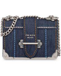 66dec031162a Prada Cahier Denim And Leather Shoulder Bag - Lyst