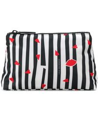 Lulu Guinness | Striped Lip Print Makeup Bag | Lyst
