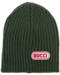 Gucci logo patch beanie - Green Gucci EsollMpsw1