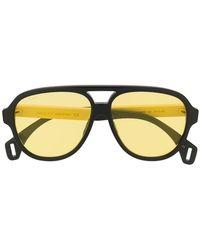 40f3fb42980 Lyst - Gucci Logo Large Aviator Sunglasses in Blue for Men