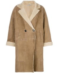 Dusan - Double Breasted Shearling Coat - Lyst