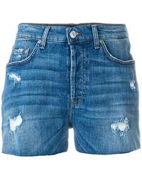 7 For All Mankind - Short en jean à effet usé - Lyst