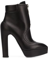 Vera Wang - High-Heel Leather Zip Boots - Lyst