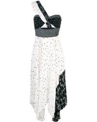 7508b07c084 Lyst - Tibi Aurora Wool Draped Tie Waist Dress in Blue