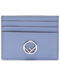 Fendi - Leather Cardholder With Silver Logo - Lyst