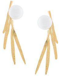 Wouters & Hendrix | Bamboo Leaf Pearl Earrings | Lyst