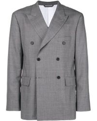 CALVIN KLEIN 205W39NYC - Double Breasted Check Blazer - Lyst