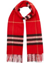 Burberry - Check Cashmere Scarf - Lyst