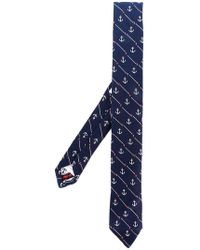 Thom Browne - Striped Anchor Icon Necktie In Silk And Cotton - Lyst