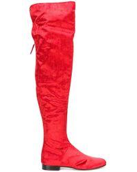 Alberta Ferretti - Velvet Over-the-knee Boots - Lyst