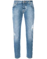 Gaëlle Bonheur - Cropped Distressed Jeans - Lyst