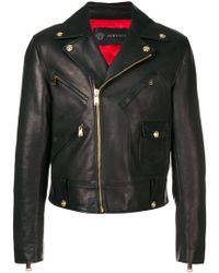 Versace - Calf Leather Biker Jacket - Lyst