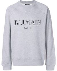 Balmain - Logo Print Jersey Jumper - Lyst
