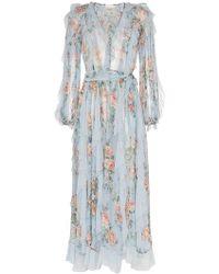 Zimmermann - Floral Print Waterfall Detail Silk Dress - Lyst