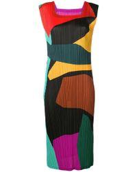 Pleats Please Issey Miyake - Micro-pleated Colour-block Dress - Lyst