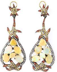 Gemco - Diamond, Sapphire And Opal Earrings - Lyst