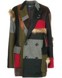 Kolor - Contrasting Panels Coat - Lyst