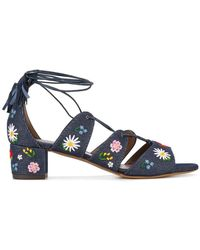 Tabitha Simmons - Embroidered Denim Sandals - Lyst