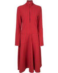Rosie Assoulin Vestido acampanado con motivo de rayas - Rojo