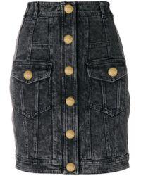 Balmain - Stonewashed Denim Skirt - Lyst