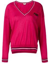 Fendi - V-neck Logo Patch Sweater - Lyst