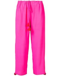 Figue - Embellished Cropped Drawstring Trousers - Lyst