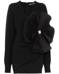 Alessandra Rich - Bow Embellished Crepe De Chine Mini Dress - Lyst