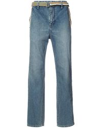 Sacai - Belted Wide Leg Jeans - Lyst
