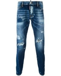 DSquared² - Sexy Twist Distressed Bleach Jeans - Lyst