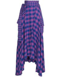 Natasha Zinko - Asymmetric Check Maxi Skirt - Lyst