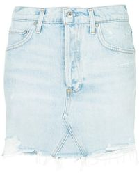 Agolde - Quinn Distressed Denim Mini Skirt - Lyst