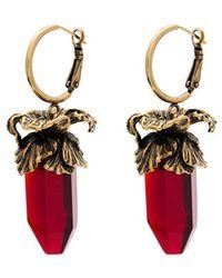 metallic gold and white iris asymmetrical earrings Alexander McQueen pdqgw