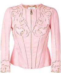 Versace - Baroque Stencil Cut Leather Jacket - Lyst