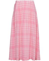 Rosie Assoulin - Checked Voile Midi Skirt - Lyst