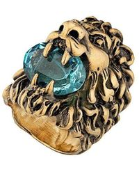 Gucci - Embellished Lion Head Ring - Lyst