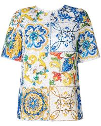 Dolce & Gabbana - Majolica Print Broderie Anglaise T-shirt - Lyst