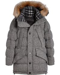 Burberry - Detachable Fur Trim Hooded Puffer Jacket - Lyst