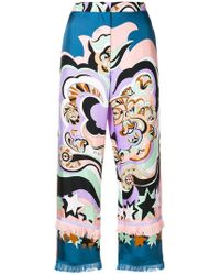 Emilio Pucci - Abstract Print Cropped Trousers - Lyst