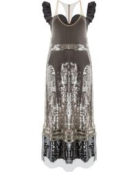 Vera Wang - Sequined Panelled Midi Dress - Lyst