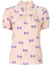 Miu Miu - Bow Print Shirt - Lyst