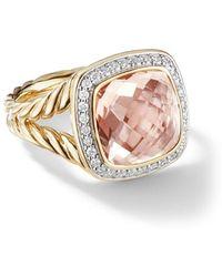 David Yurman 18kt Yellow Gold Albion Morganite And Diamond Ring