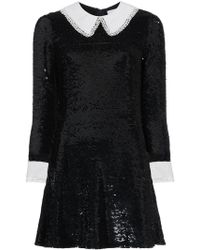 Ashish - Sequinned Mini Dress With Contrasting Collar And Cuffs - Lyst