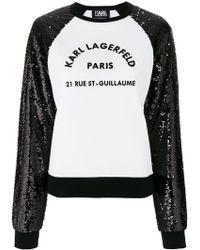 Karl Lagerfeld - Sequin Sleeve Logo Sweatshirt - Lyst