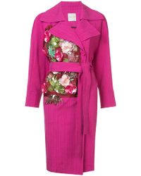 Emanuel Ungaro | Floral Appliqué Belted Coat | Lyst