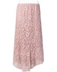 Blugirl Blumarine - Asymmetric Lace Midi Skirt - Lyst